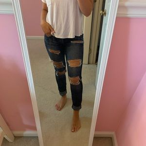 Ripped dark jeans